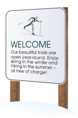 Welcome! Our beautiful trails are open year-round. Enjoy skiing in the winter and hiking in the summer — all free of charge!